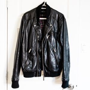 Dsquared Bomber Leather Jacket - Black - XL (54)